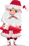 Santa Claus Cartoon Flat Vector Character - Waiting with Crossed Hands