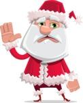 Santa Claus Cartoon Flat Vector Character - Waving for Goodbye with a Hand