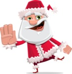 Santa Claus Cartoon Flat Vector Character - Waving for Welcome with a Hand