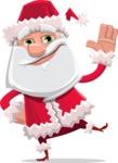 Santa Claus Cartoon Flat Vector Character - Waving