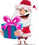 Santa Claus Cartoon Flat Vector Character - With a Big Christmas Present