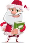 Santa Claus Cartoon Flat Vector Character - With a Book