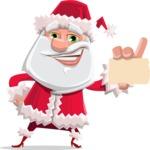Santa Claus Cartoon Flat Vector Character - With a Business Card