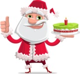 Santa Claus Cartoon Flat Vector Character - With a Cake for Christmas