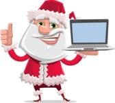 Santa Claus Cartoon Flat Vector Character - With a Computer