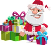 Santa Claus Cartoon Flat Vector Character - With a Lot of Presents