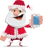 Santa Claus Cartoon Flat Vector Character - With a Mobile Phone