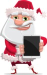 Santa Claus Cartoon Flat Vector Character - With a Tablet