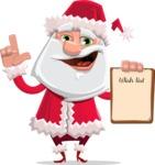Santa Claus Cartoon Flat Vector Character - With a Wish List