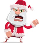 Santa Claus Cartoon Flat Vector Character - With Angry Face