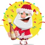 Santa Claus Cartoon Flat Vector Character - With Celebrating Background with Confetti