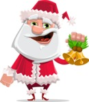 Santa Claus Cartoon Flat Vector Character - With Christmas Decoration - Christmas Bells