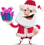 Santa Claus Cartoon Flat Vector Character - With Christmas Gifts