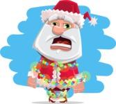 Santa Claus Cartoon Flat Vector Character - With Christmas Lights Illustration