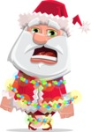 Santa Claus Cartoon Flat Vector Character - With Christmas Lights