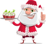 Santa Claus Cartoon Flat Vector Character - With Christmas Muffins