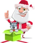 Santa Claus Cartoon Flat Vector Character - With Christmas Puppy as a Present
