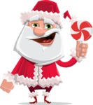 Santa Claus Cartoon Flat Vector Character - With Christmas Sweet - Lollipop