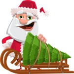 Santa Claus Cartoon Flat Vector Character - With Christmas Tree on a Sleigh