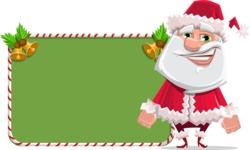 Santa Claus Cartoon Flat Vector Character - With Cool Christmas Board
