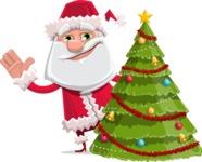 Santa Claus Cartoon Flat Vector Character - With Cool Christmas Tree