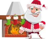 Santa Claus Cartoon Flat Vector Character - With Decorated Fireplace