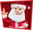 Santa Claus Cartoon Flat Vector Character - With Flat Shape Background