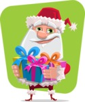 Santa Claus Cartoon Flat Vector Character - With Gifts on a Background Illustration