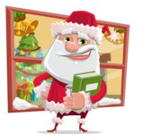 Santa Claus Cartoon Flat Vector Character - With Happy House Window Illustration