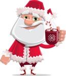Santa Claus Cartoon Flat Vector Character - With Hot Choco Mug