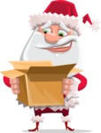 Santa Claus Cartoon Flat Vector Character - With Open Christmas Present