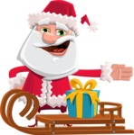 Santa Claus Cartoon Flat Vector Character - With Present on a Sleigh