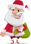 Santa Claus Cartoon Flat Vector Character - With Sack full of Christmas Presents