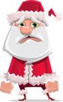 Santa Claus Cartoon Flat Vector Character - With Sad Face