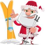 Santa Claus Cartoon Flat Vector Character - With Ski