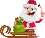 Santa Claus Cartoon Flat Vector Character - With Sleigh and Sack with Gifts