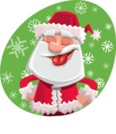 Santa Claus Cartoon Flat Vector Character - With Snow Illustration Concept
