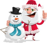 Santa Claus Cartoon Flat Vector Character - With Snowman