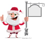 Santa Claus Cartoon Flat Vector Character - With Steet Sign