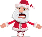 Santa Claus Cartoon Flat Vector Character - With Stunned Face