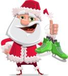 Santa Claus Cartoon Flat Vector Character - With Winter Skates