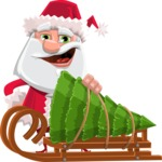 Santa Jolly Bells - Sled With Christmas Tree