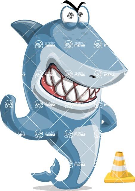 Shark Cartoon Vector Character - 112 Poses - as a Construction Worker