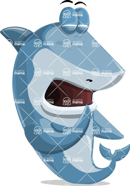 Shark Cartoon Vector Character - 112 Poses - Being Bored