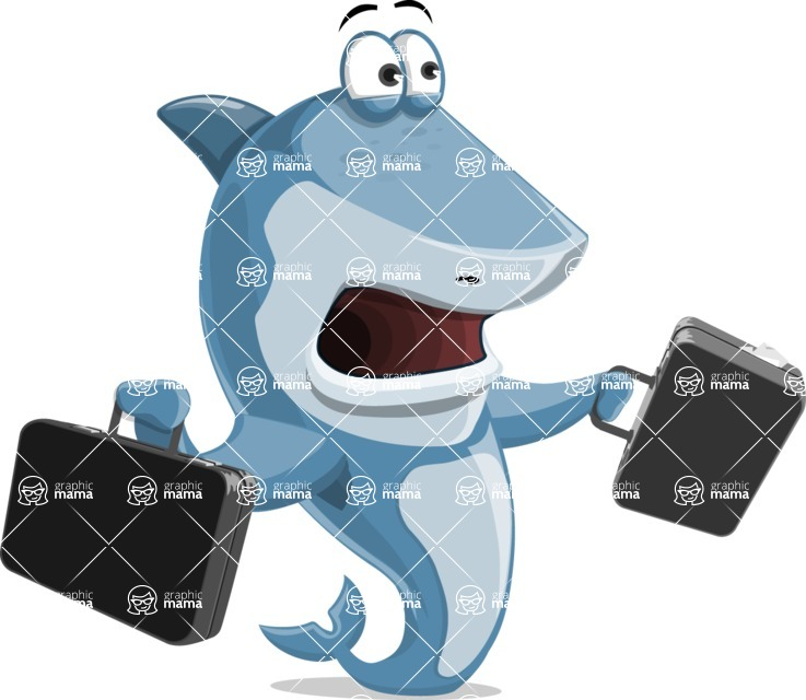 Shark Cartoon Vector Character - 112 Poses - Being Busy