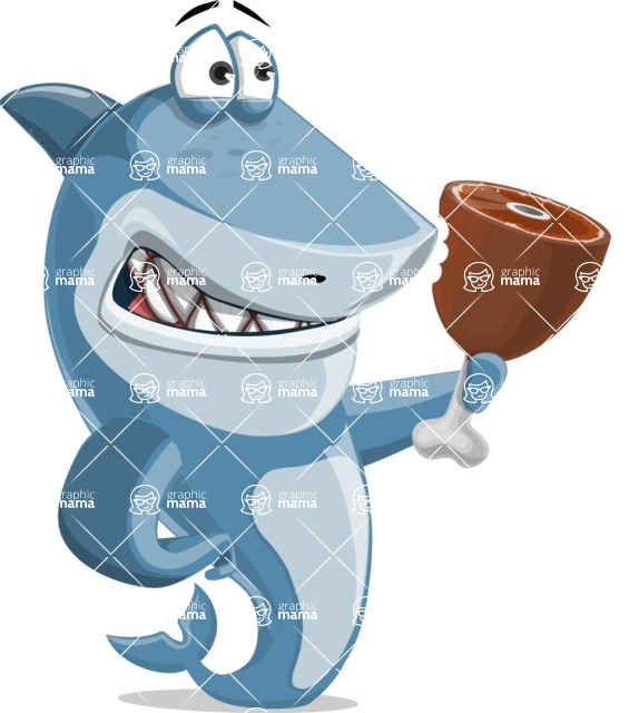 Shark Cartoon Vector Character AKA Sharko Polo - Being Hungry and Holding Meat