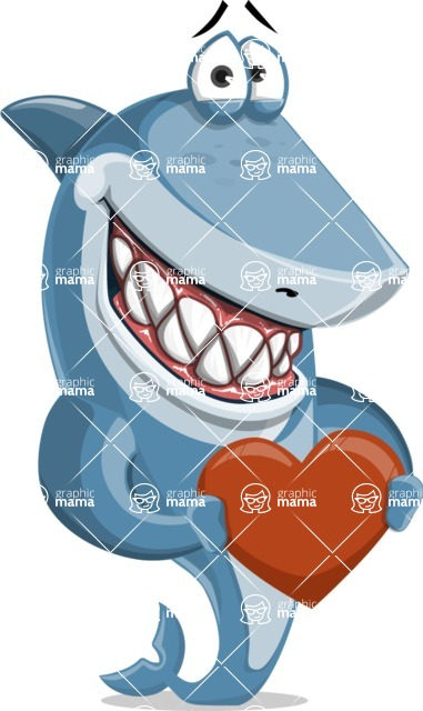 Shark Cartoon Vector Character - 112 Poses - Being Kind with a Love Heart