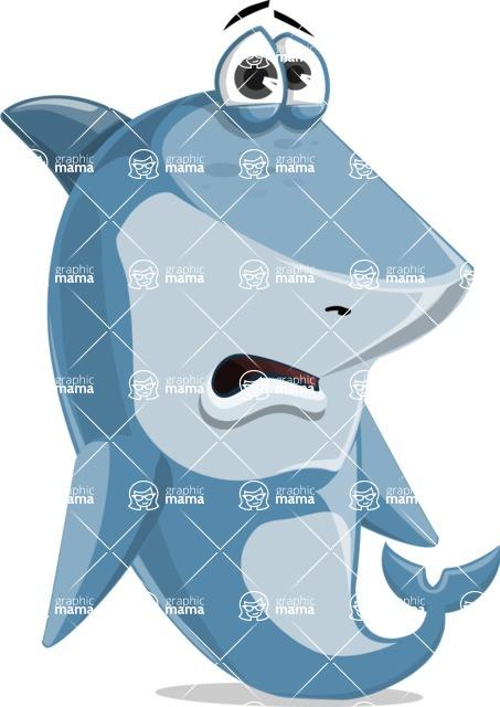 Shark Cartoon Vector Character - 112 Poses - Being Sad