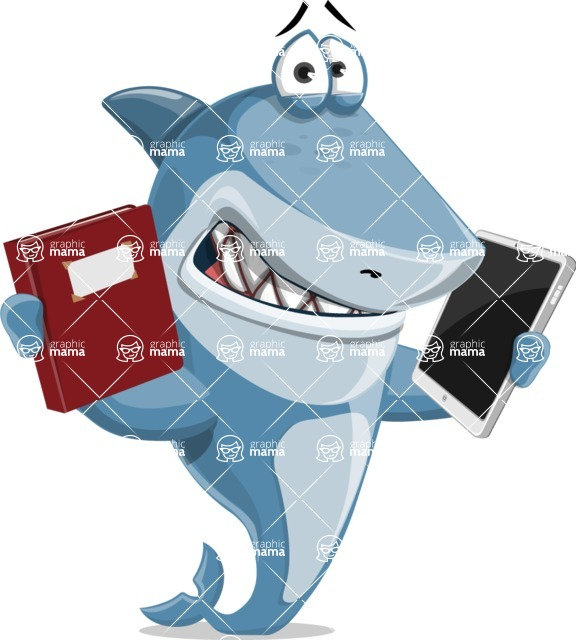 Shark Cartoon Vector Character AKA Sharko Polo - Choosing Between Book and Tablet