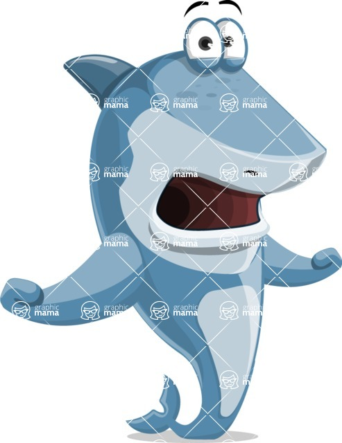 Shark Cartoon Vector Character - 112 Poses - Feeling Shocked